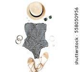 feminine swimsuit beach... | Shutterstock . vector #558050956