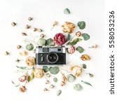 flat lay  top view vintage... | Shutterstock . vector #558053236