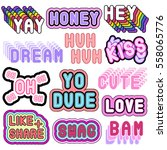 big set of patches  stickers ... | Shutterstock .eps vector #558065776