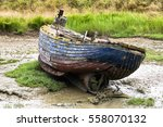 Small Boat Stuck In Mud  Woode...