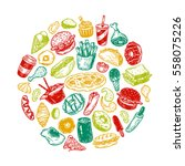 hand drawn vector fast food... | Shutterstock .eps vector #558075226