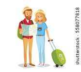 couple of tourists with travel... | Shutterstock .eps vector #558077818