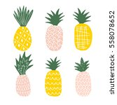 set of cute pineapples. | Shutterstock .eps vector #558078652
