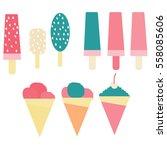 flat set ice cream  | Shutterstock .eps vector #558085606