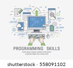 programming and coding skills.... | Shutterstock .eps vector #558091102