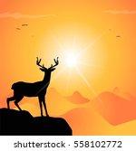 deer silhouette at sunset | Shutterstock .eps vector #558102772