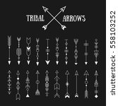 set of hipster tribal arrows on ... | Shutterstock . vector #558103252
