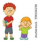 big naughty boy taking toy away ... | Shutterstock .eps vector #558106258