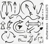 hand drawn arrows. vector set... | Shutterstock .eps vector #558112075