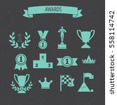 set of award success and... | Shutterstock .eps vector #558114742