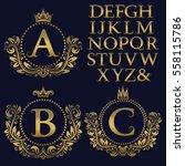 vintage monogram kit. golden... | Shutterstock .eps vector #558115786