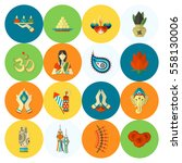 diwali. indian festival icons.... | Shutterstock . vector #558130006