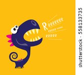 vector cartoon funny dragon.... | Shutterstock .eps vector #558133735