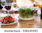 easter table setting with eggs  ... | Shutterstock . vector #558149392