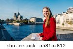smiling young blonde woman with ... | Shutterstock . vector #558155812