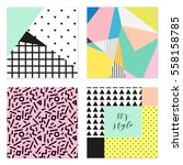 set of four 80's style posters... | Shutterstock .eps vector #558158785