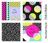 set of four 80's style posters... | Shutterstock . vector #558158806