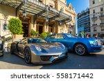 Small photo of MONTE CARLO, MONACO - JUNE 15, 2016: Luxury cars next to the grand casino in Monte Carlo in Monaco on June 15, 2016