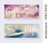 gift voucher template with blu... | Shutterstock .eps vector #558175552