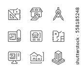 set line icons of architectural ... | Shutterstock . vector #558185248