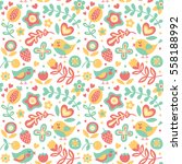 seamless cute spring floral... | Shutterstock .eps vector #558188992