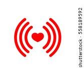 heart wifi icon  flat design...
