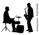 Silhouette Musician Drummer On...