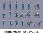 large vector set of businessman ... | Shutterstock .eps vector #558192316