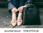 fall outfit fashion details ... | Shutterstock . vector #558195418