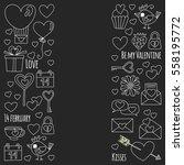 valentine day vector pattern... | Shutterstock .eps vector #558195772