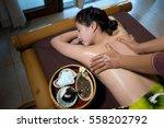an attractive asian woman lying ... | Shutterstock . vector #558202792