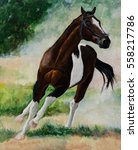 Running Horse In Dust Painting