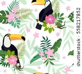 pattern with toucan birds on... | Shutterstock .eps vector #558217852