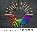 artistic brushes and colored... | Shutterstock . vector #558247222