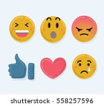 set of cute smiley emoticons ... | Shutterstock .eps vector #558257596