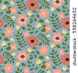 seamless hand drawn flower... | Shutterstock .eps vector #558264652