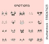 set of han drawn emotional faces | Shutterstock .eps vector #558267625
