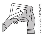 hands holding a tablet device... | Shutterstock .eps vector #558276628