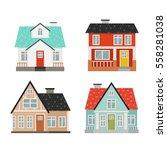 set of four cute cartoon houses ... | Shutterstock .eps vector #558281038