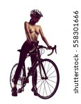 naked woman with a bicycle....   Shutterstock . vector #558301666