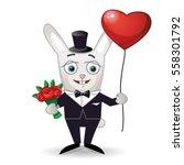 happy rabbit with bouquet of... | Shutterstock .eps vector #558301792