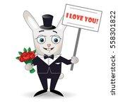 happy rabbit with bouquet of... | Shutterstock .eps vector #558301822