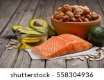 selection of healthy fat... | Shutterstock . vector #558304936