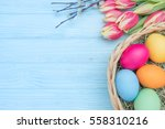 easter eggs with tulips in... | Shutterstock . vector #558310216