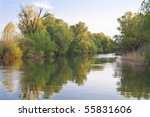 a small channel in the danube... | Shutterstock . vector #55831606