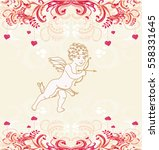 happy valentine's day card with ... | Shutterstock . vector #558331645