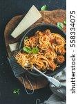 italian pasta dinner. spaghetti ... | Shutterstock . vector #558334075