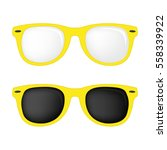 hipster yellow color glasses... | Shutterstock .eps vector #558339922