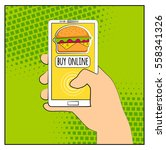 comic phone with halftone... | Shutterstock .eps vector #558341326