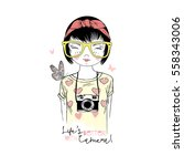 Cute Cartoon Hipster Girl With...
